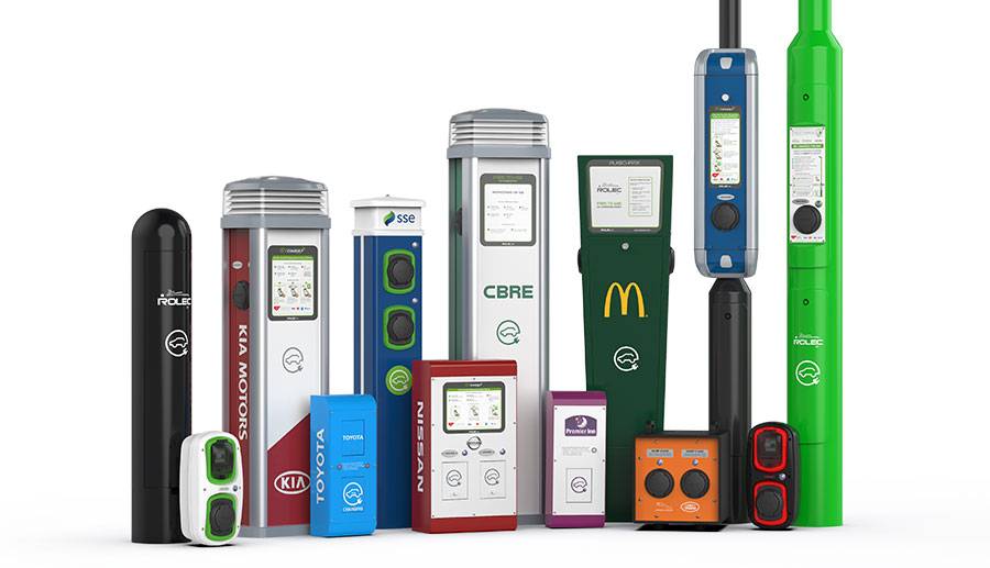 Image of Rolec charge points for various brands